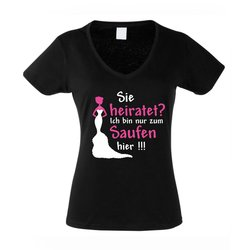 Sie heiratet - Damen V-NECK T-Shirt Sie heiratet - die...